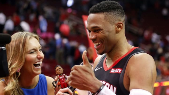 Houston Rockets Russell Westbrook Cayleigh Griffin (Photo by Bob Levey/Getty Images)
