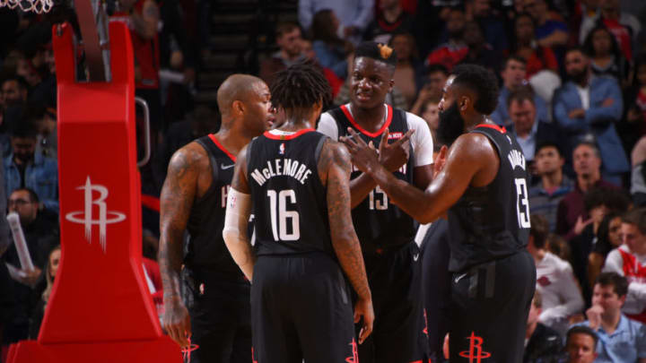 HOUSTON, TX - DECEMBER 16 : The Houston Rockets huddle up during the game against the San Antonio Spurs on December 16, 2019 at the Toyota Center in Houston, Texas. NOTE TO USER: User expressly acknowledges and agrees that, by downloading and or using this photograph, User is consenting to the terms and conditions of the Getty Images License Agreement. Mandatory Copyright Notice: Copyright 2019 NBAE (Photo by Bill Baptist/NBAE via Getty Images)