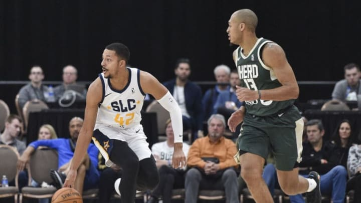 LAS VEGAS, NV - DECEMBER 19: William Howard #42 of the Salt Lake City Stars handles the ball against the Wisconsin Herd during the NBA G League Winter Showcase at Mandalay Bay Events Center in Las Vegas, Nevada on December 20, 2019. NOTE TO USER: User expressly acknowledges and agrees that, by downloading and/or using this photograph, user is consenting to the terms and conditions of the Getty Images License Agreement. Mandatory Copyright Notice: Copyright 2019 NBAE (Photo by David Becker/NBAE via Getty Images)