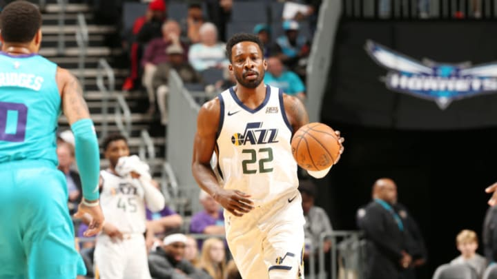 CHARLOTTE, NC - DECEMBER 21: Jeff Green #22 of the Utah Jazz handles the ball during a game against the Charlotte Hornets on December 21, 2019 at Spectrum Center in Charlotte, North Carolina. NOTE TO USER: User expressly acknowledges and agrees that, by downloading and or using this photograph, User is consenting to the terms and conditions of the Getty Images License Agreement. Mandatory Copyright Notice: Copyright 2019 NBAE (Photo by Kent Smith/NBAE via Getty Images)