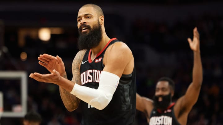 MINNEAPOLIS, MINNESOTA - NOVEMBER 16: Tyson Chandler #19 and James Harden #13 of the Houston Rockets looks on during the game against the Minnesota Timberwolves at Target Center on November 16, 2019 in Minneapolis, Minnesota. NOTE TO USER: User expressly acknowledges and agrees that, by downloading and or using this Photograph, user is consenting to the terms and conditions of the Getty Images License Agreement (Photo by Hannah Foslien/Getty Images)