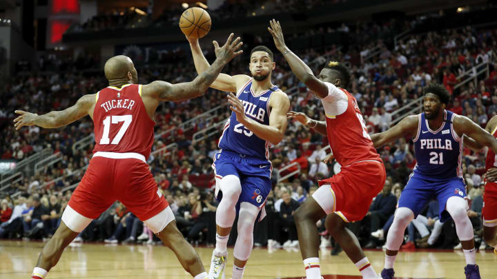 P.J. Tucker Ben Simmons Clint Capela (Photo by Tim Warner/Getty Images)