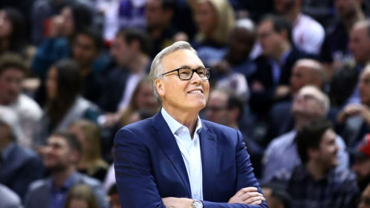 TORONTO, ON - DECEMBER 05: Head Coach Mike D'Antoni of the Houston Rockets looks on during the second half of an NBA game against the Toronto Raptors at Scotiabank Arena on December 05, 2019 in Toronto, Canada. NOTE TO USER: User expressly acknowledges and agrees that, by downloading and or using this photograph, User is consenting to the terms and conditions of the Getty Images License Agreement. (Photo by Vaughn Ridley/Getty Images)