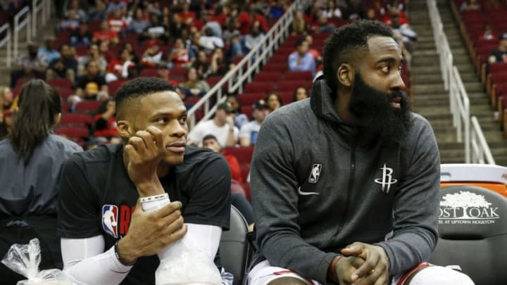 Houston Rockets James Harden Russell Westbrook (Photo by Tim Warner/Getty Images)