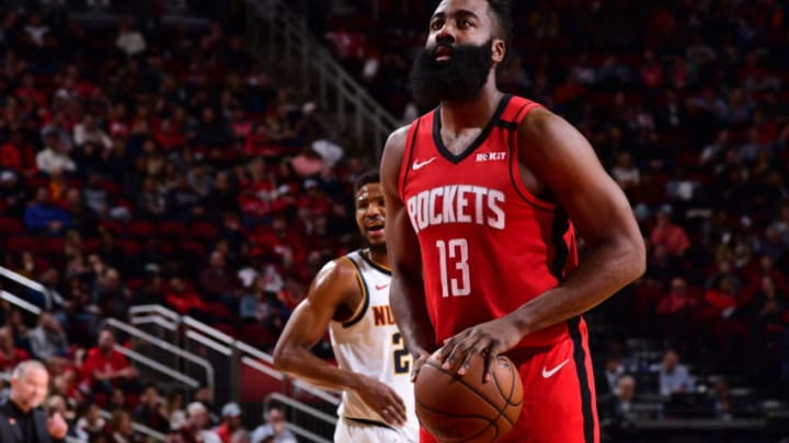 HOUSTON, TX - JANUARY 22: James Harden #13 of the Houston Rockets shoots a free throw during a game against the Denver Nuggets on January 22, 2020 at the Toyota Center in Houston, Texas. NOTE TO USER: User expressly acknowledges and agrees that, by downloading and or using this photograph, User is consenting to the terms and conditions of the Getty Images License Agreement. Mandatory Copyright Notice: Copyright 2020 NBAE (Photo by Cato Cataldo/NBAE via Getty Images)