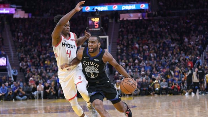 SAN FRANCISCO, CALIFORNIA - DECEMBER 25: Alec Burks #8 of the Golden State Warriors drives towards the basket on Danuel House Jr. #4 of the Houston Rockets during the second half of an NBA basketball game at Chase Center on December 25, 2019 in San Francisco, California. NOTE TO USER: User expressly acknowledges and agrees that, by downloading and or using this photograph, User is consenting to the terms and conditions of the Getty Images License Agreement. (Photo by Thearon W. Henderson/Getty Images)