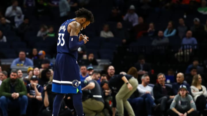 MINNEAPOLIS, MN - JANUARY 27: Robert Covington #33 of the Minnesota Timberwolves looks on against the Sacramento Kings in the fourth quarter of the game at Target Center on January 27, 2020 in Minneapolis, Minnesota. The Kings defeated the Timberwolves 133-129 in overtime. NOTE TO USER: User expressly acknowledges and agrees that, by downloading and or using this Photograph, user is consenting to the terms and conditions of the Getty Images License Agreement. (Photo by David Berding/Getty Images)