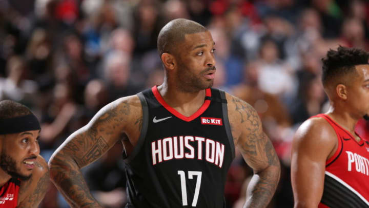 PORTLAND, OR - JANUARY 29: P.J. Tucker #17 of the Houston Rockets looks on during the game against the Portland Trail Blazers on January 29, 2020 at the Moda Center Arena in Portland, Oregon. NOTE TO USER: User expressly acknowledges and agrees that, by downloading and or using this photograph, user is consenting to the terms and conditions of the Getty Images License Agreement. Mandatory Copyright Notice: Copyright 2020 NBAE (Photo by Sam Forencich/NBAE via Getty Images)