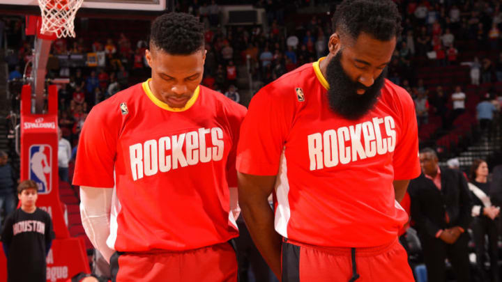 Houston Rockets Russell Westbrook James Harden (Photo by Bill Baptist/NBAE via Getty Images)