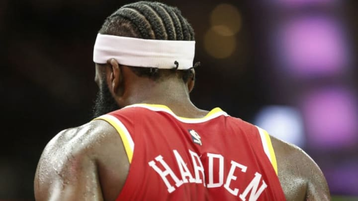 HOUSTON, TEXAS - JANUARY 03: A view of the new hair style and headband of James Harden #13 of the Houston Rockets during the game against the Philadelphia 76ers at Toyota Center on January 03, 2020 in Houston, Texas. NOTE TO USER: User expressly acknowledges and agrees that, by downloading and or using this photograph, User is consenting to the terms and conditions of the Getty Images License Agreement. (Photo by Tim Warner/Getty Images) (Photo by Tim Warner/Getty Images)