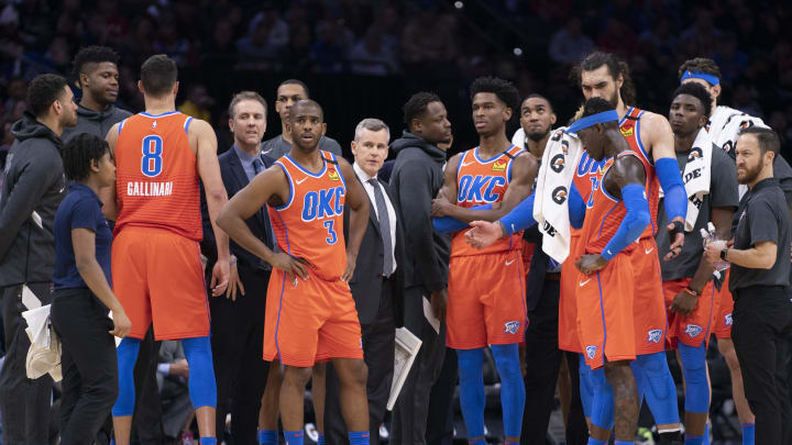 Chris Paul #3, Shai Gilgeous-Alexander #2, Dennis Schroder #17 of the Oklahoma City Thunder (Photo by Mitchell Leff/Getty Images)