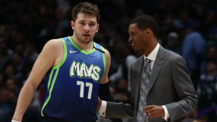 Luka Doncic of the Dallas Mavericks, Stephen Silas (Photo by Ronald Martinez/Getty Images)