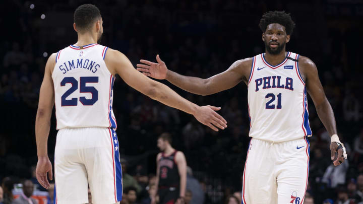 Ben Simmons and Joel Embiid of the Philadelphia 76ers (Photo by Mitchell Leff/Getty Images)