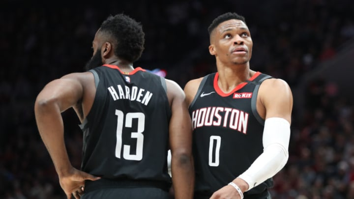 Houston Rockets James Harden Russell Westbrook (Photo by Abbie Parr/Getty Images)