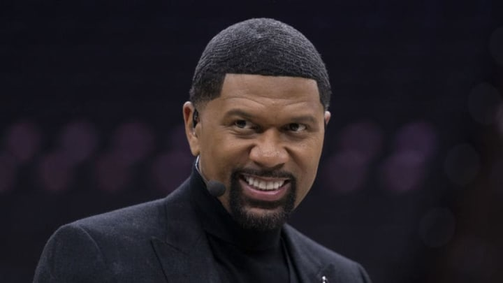PHILADELPHIA, PA - JANUARY 25: ESPN analyst Jalen Rose looks on prior to the game between the Los Angeles Lakers and Philadelphia 76ers at the Wells Fargo Center on January 25, 2020 in Philadelphia, Pennsylvania. NOTE TO USER: User expressly acknowledges and agrees that, by downloading and/or using this photograph, user is consenting to the terms and conditions of the Getty Images License Agreement. (Photo by Mitchell Leff/Getty Images)