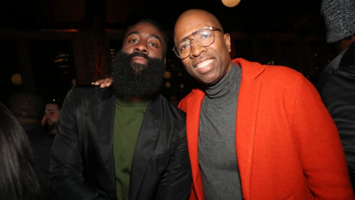 Houston Rockets James Harden, Kenny Smith (Photo by Johnny Nunez/Getty Images for Stance )