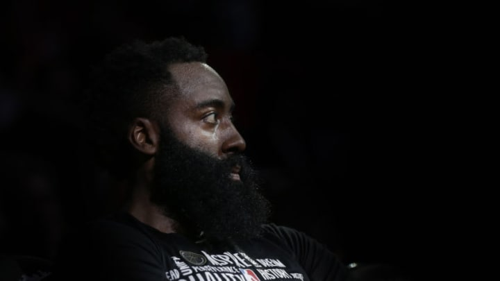 HOUSTON, TEXAS - FEBRUARY 24: James Harden #13 of the Houston Rockets looks on from the bench during the fourth quarter against the New York Knicks at Toyota Center on February 24, 2020 in Houston, Texas. NOTE TO USER: User expressly acknowledges and agrees that, by downloading and/or using this photograph, user is consenting to the terms and conditions of the Getty Images License Agreement. (Photo by Bob Levey/Getty Images)