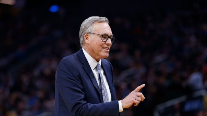 SAN FRANCISCO, CALIFORNIA - FEBRUARY 20: Mike D'Antoni head coach of the Houston Rockets looks on in the first half against the Golden State Warriors at Chase Center on February 20, 2020 in San Francisco, California. NOTE TO USER: User expressly acknowledges and agrees that, by downloading and/or using this photograph, user is consenting to the terms and conditions of the Getty Images License Agreement. (Photo by Lachlan Cunningham/Getty Images)