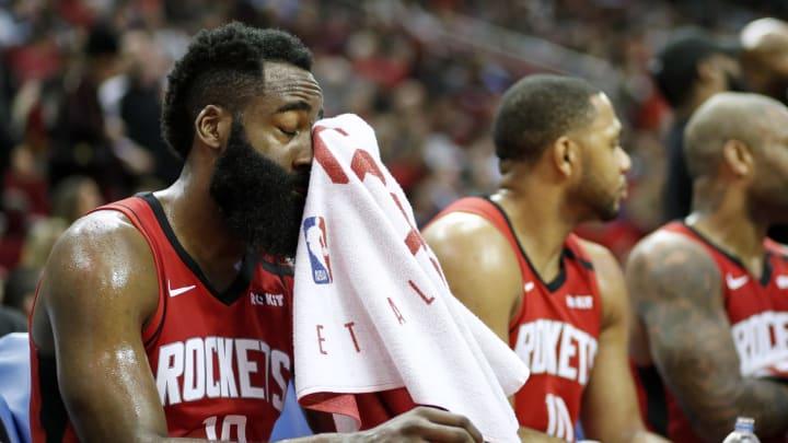 Houston Rockets James Harden Eric Gordon (Photo by Tim Warner/Getty Images)