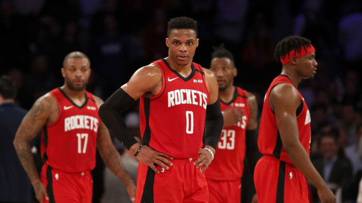 Houston Rockets P.J. Tucker Russell Westbrook Robert Covington Danuel House (Photo by Jim McIsaac/Getty Images)