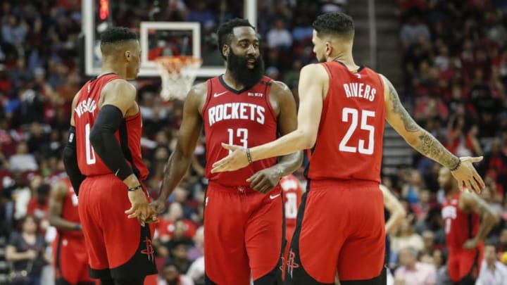 Houston Rockets Russell Westbrook James Harden Austin Rivers (Photo by Tim Warner/Getty Images)