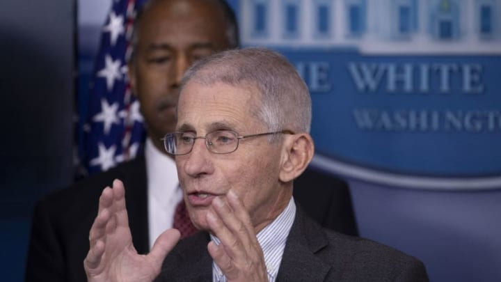 WASHINGTON, DC - MARCH 21: Anthony Fauci, Director of the National Institute of Allergy and Infectious Diseases speaks during a briefing in the James Brady Press Briefing Room at the White House on March 21, 2020 in Washington, DC. With deaths caused by the coronavirus rising and foreseeable economic turmoil, the Senate is working on legislation for a $1 trillion aid package to deal with the COVID-19 pandemic. (Photo by Tasos Katopodis/Getty Images))
