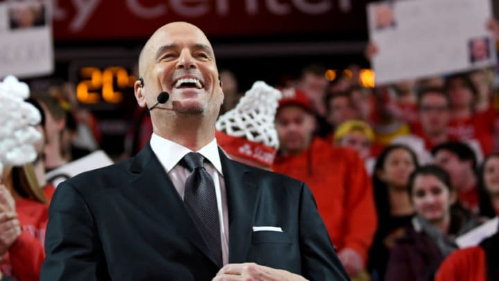 COLLEGE PARK, MD - FEBRUARY 29: Jay Bilas talks during ESPN College GameDay before the game between the Maryland Terrapins and the Michigan State Spartans in the Xfinity Center on February 29, 2020 in College Park, Maryland. (Photo by G Fiume/Maryland Terrapins/Getty Images)