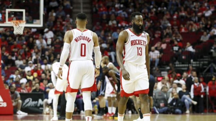 Russell Westbrook James Harden (Photo by Tim Warner/Getty Images)