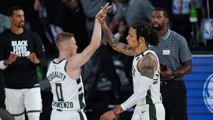 D.J. Wilson #5 Donte DiVincenzo #0 of the Milwaukee Bucks (Photo by Ashley Landis-Pool/Getty Images)