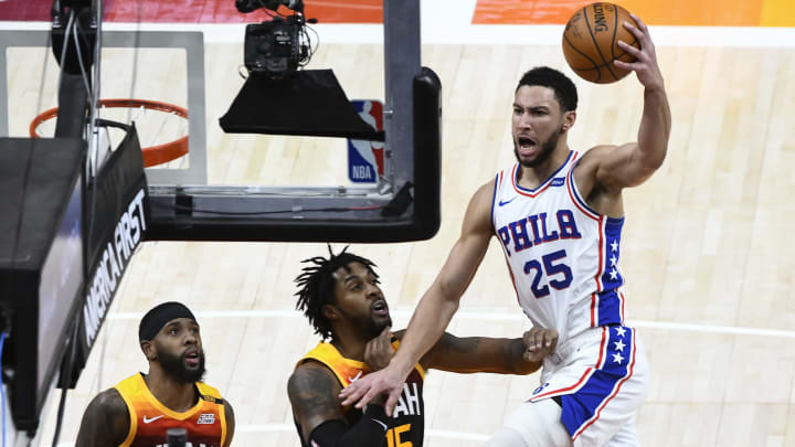 Ben Simmons #25 of the Philadelphia 76ers, Derrick Favors #15 of the Utah Jazz (Photo by Alex Goodlett/Getty Images)
