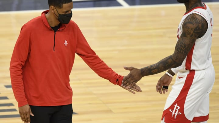 Head coach Stephen Silas, John Wall #1 Houston Rockets (Photo by Hannah Foslien/Getty Images)