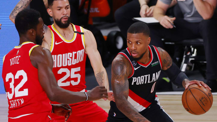Jeff Green #32 and Austin Rivers #25 of the Houston Rockets (Photo by Kevin C. Cox/Getty Images)