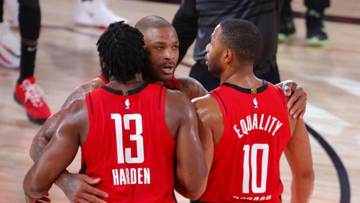 Houston Rockets James Harden P.J. Tucker Eric Gordon (Photo by Kevin C. Cox/Getty Images)