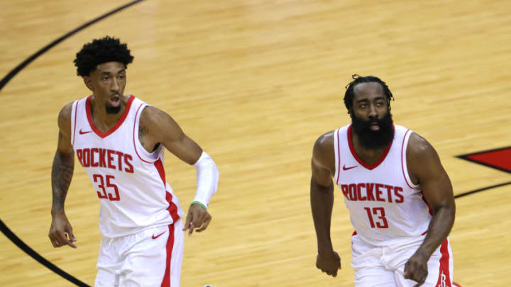 Christian Wood #35 and James Harden #13 of the Houston Rockets (Photo by Carmen Mandato/Getty Images)