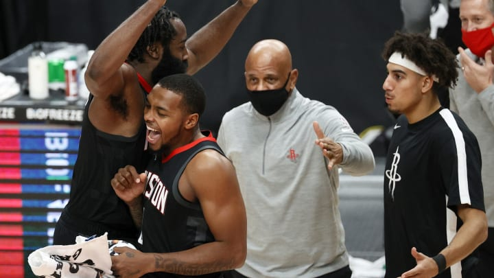 Sterling Brown #0 and James Harden #13 of the Houston Rockets (Photo by Steph Chambers/Getty Images)