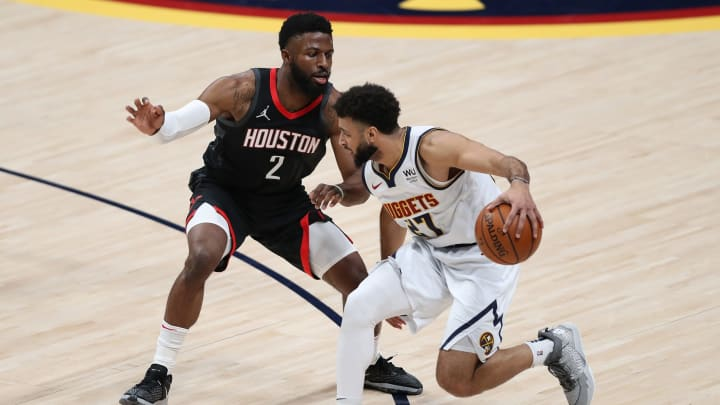 Jamal Murray #27 of the Denver Nuggets, David Nwaba #2 of the Houston Rockets (Photo by Matthew Stockman/Getty Images)