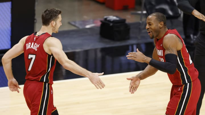 Goran Dragic #7 and Andre Iguodala #28 of the Miami Heat (Photo by Michael Reaves/Getty Images)