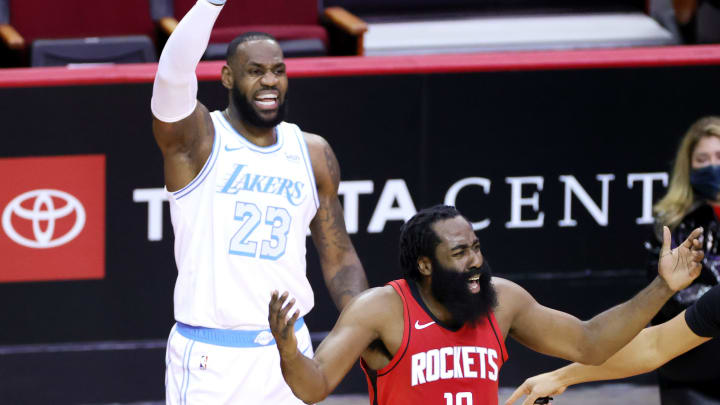James Harden #13 of the Houston Rockets, LeBron James #23 of the Los Angeles Lakers (Photo by Carmen Mandato/Getty Images)