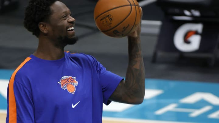 CHARLOTTE, NORTH CAROLINA - JANUARY 11: Julius Randle #30 of the New York Knicks warms up prior to their game against the Charlotte Hornets at Spectrum Center on January 11, 2021 in Charlotte, North Carolina. NOTE TO USER: User expressly acknowledges and agrees that, by downloading and or using this photograph, User is consenting to the terms and conditions of the Getty Images License Agreement. (Photo by Jared C. Tilton/Getty Images)