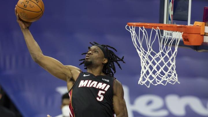 Precious Achiuwa #5 of the Miami Heat (Photo by Mitchell Leff/Getty Images)