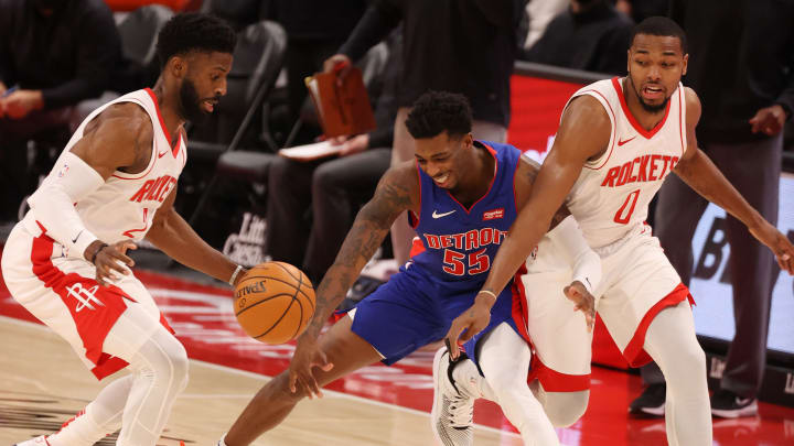 David Nwaba #2 and Sterling Brown #0 of the Houston Rockets (Photo by Gregory Shamus/Getty Images)