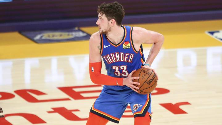 Mike Muscala #33 of the Oklahoma City Thunder (Photo by Meg Oliphant/Getty Images)