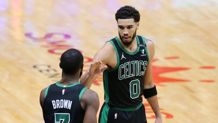 Jayson Tatum #0, Jaylen Brown #7 of the Boston Celtics (Photo by Jonathan Bachman/Getty Images)