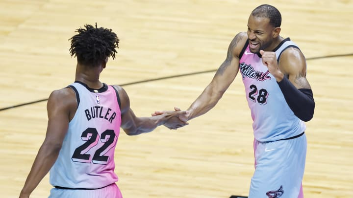 Jimmy Butler #22 and Andre Iguodala #28 of the Miami Heat (Photo by Michael Reaves/Getty Images)