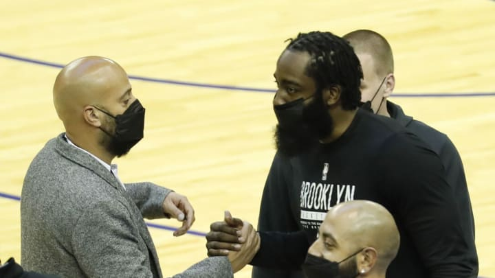 James Harden #13 of the Brooklyn Nets Houston Rockets general manaer Rafeal Stone (Photo by Bob Levey/Getty Images)