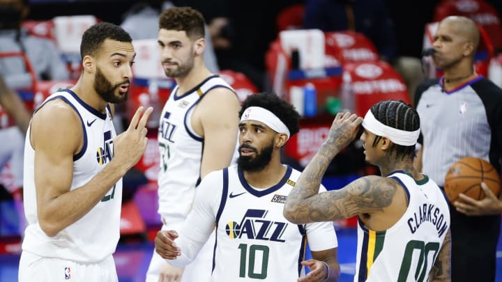 Rudy Gobert #27, Mike Conley #10 and Jordan Clarkson #00 of the Utah Jazz (Photo by Tim Nwachukwu/Getty Images)