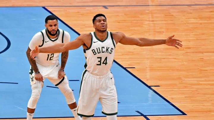 Giannis Antetokounmpo #34 of the Milwaukee Bucks (Photo by Justin Ford/Getty Images)