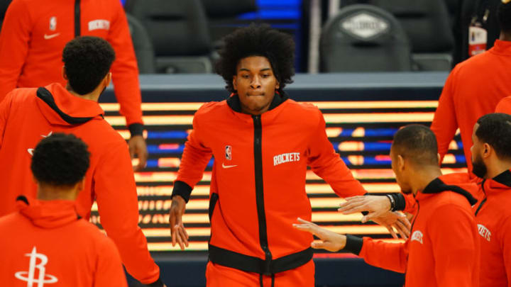 SAN FRANCISCO, CALIFORNIA - APRIL 10: Kevin Porter Jr. #3 of the Houston Rockets walks out on court during player introductions prior to the game against the Golden State Warriors at the Chase Center on April 10, 2021 in San Francisco, California. NOTE TO USER: User expressly acknowledges and agrees that, by downloading and or using this photograph, User is consenting to the terms and conditions of the Getty Images License Agreement. (Photo by Daniel Shirey/Getty Images)