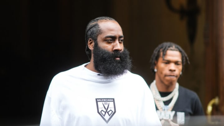 PARIS, FRANCE - JULY 07: James Harden, NBA basketball player, is seen, outside Balenciaga, during Paris Fashion Week - Haute Couture Fall/Winter 2021/2022, on July 07, 2021 in Paris, France. (Photo by Edward Berthelot/Getty Images)