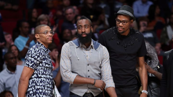 Russell Westbrook, James Harden of the Houston Rockets (Photo by Ronald Martinez/Getty Images)